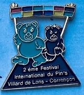 2ème FESTIVAL INTERNATIONAL DU PIN'S - VILLARD DE LANS - CORRENCON - FRANCE - OURS VERT ET NOIR - FRANCE - (25) - Pin's & Anstecknadeln
