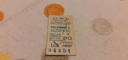BIGLIETTO TRENO AGENZIA VIAGGI COOP.FERR. PENSIONATI DA MILANO A PALERMO CENTRALE 1982 - Railway