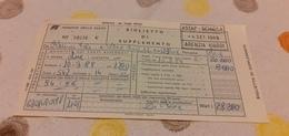 BIGLIETTO TRENO SUPPLEMENTO DA ROMA TERMINI A VENEZIA SANTA LUCIA 1989 - Trenes