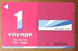 83 TOULON MISTRAL PASS 1 VOYAGE TITRE DE TRANSPORT MAGNÉTIQUE QUE POUR LA COLLECTION - Bus