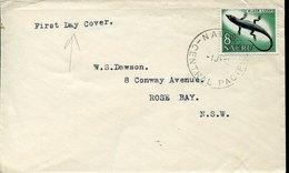 54880 Nauru, Cover Fdc Circuled With 8d Stamp  Black Lizard, Lézard Noir,schwarze Eidechse - Nauru