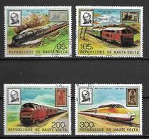 HAUTE VOLTA  -  1979  . Y&T N° 484 à 487 Oblitérés.  Trains  /  Rowland Hill .  Série Complète. - Alto Volta (1958-1984)