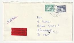 DDR 1980 1981 Michel Nr. 2483 Und 2650 Auf Brief Vom 21.12.87 Von Magdeburg Nach Düsseldorf, Eilsendung Exprès Eilboten - Briefe U. Dokumente
