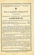 Doodsprentje  Leerling Seminarie  CAMERMAN   DOEL 1867  1890 - Godsdienst & Esoterisme