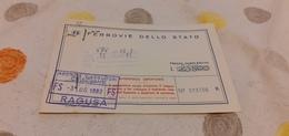 BIGLIETTO TRENO AGENZIA VIAGGI CRISCIONE   DA CATANIA  A MONTECATINI TERME 19821980 - Trenes