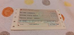 BIGLIETTO TRENO DA MILANO LAMBRATE A VERONA PORTA NUOVA 1989 - Trenes