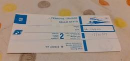 BIGLIETTO TRENO DA PALERMO CENTRALE A PARIS LYON 1989 - Trenes