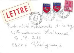 DORDOGNE 24 - ST BARTHELEMY DE BELLEGARDE - CACHET RECETTE R A9 - 1974 - BELLE FRAPPE - Marcophilie (Lettres)