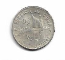 20 CENTAVOS 1952 ARGENT - Cuba