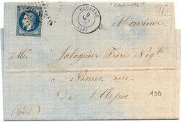 Lettre (LAC) Adressée  De OLONZAC - GC 2722 - H Dans Un Cercle = CAUNETTE (Hérault) Sur Yvert 29 B   (1267 ASO) - 1849-1876: Période Classique