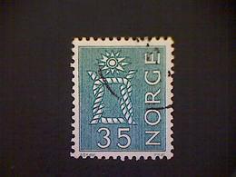 Norway (Norge), Scott #422, Used (o), 1963, Boatswain Knot, 35ø, Bright Green - Norvège