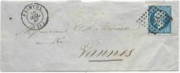 LETTRE 1860 AVEC CACHET PETITS CHIFFRES 2366 ET CACHET A DATE TYPE 15 DE PAIMPOL - 1849-1876: Période Classique