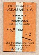 "BRD - Pappfahrkarte Eisenbahn Train - Sonderzug ""Offenbacher Lokalbahn"" - Trenes"