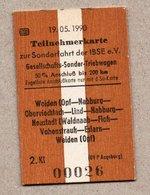 "BRD - Pappfahrkarte Eisenbahn Train -  ""Soderfahrt IBSE E.V."" -- Weiden - Neustadt - Weiden 1990 - Trenes"