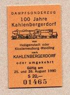 """BRD - Pappfahrkarte Eisenbahn Train -  Sonderzug """"100 Jahre Kahlenbergerdorf"""" -- Heiligenstadt - Kahlenbergerdorf - Trenes"""