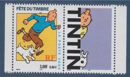 Fête Du Timbre 2000 Tintin Et Milou D'après L'oeuvre De Hergé, Timbre + Vignette N°3303b (3303a+vignette) Neuf - Unused Stamps