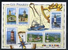 Phares De France Cap Frehel 4112 Espiguette 4113 Grand Léjon 4115 Porquerolles 4116 Chassiron 4117 D'Ar-Men 4114 BF114 - Blocs & Feuillets