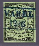 (1859) 1/3 Groschen Schwarz Auf Grün Gestempelt. Sperati Ganzfälschung Rückseitig Gestempelt Mit Sammlungsnummer 313 - Oldenburg