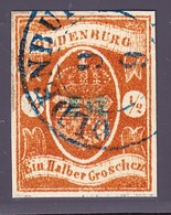 (1861) 1/2 Groschen Braun/organge Gestempelt. Sperati Ganzfälschung Rückseitig Gestempelt Mit Sammlungsnummer 313 - Oldenburg
