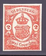 (1861) 2 GR Rot/orange. Sperati Ganzfälschung Rückseitig Gestempelt Mit Sammlungsnummer 313 - Oldenburg