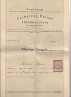 V1 - 1916 Abgangszeugnis Der Erzherzog Rainer Handelsschule, Dok. 2 Seitig A3 Format, Gefaltet - Faire-part