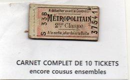 Paris: Lot Exceptionnel : Carnet Complet De 10 Tickets De Métro 2e Classe  (PPP22927) - Billetes De Transporte