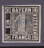 (1849) 1 Kr Schwarz. Sperati Ganzfälschung Rückseitig Gestempelt Mit Sammlungsnummer 313 - Bayern