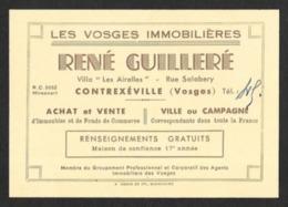 Carte De Visite.  Les Vosges Immobilières.   René Guilleré  à  Contrexéville (88). - Visitekaartjes