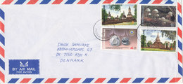Thailand Air Mail Cover Sent To Denmark Topic Stamps - Thaïlande