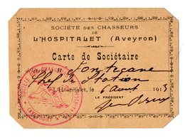 VP17.149 - CHASSE - Société Des Chasseurs De L'HOSPITALET ( Aveyron) - Carte De Sociétaire - Mr FONTECANE - Other