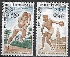 HAUTE VOLTA  -  Poste Aérienne  -  1972 . Y&T N° 102 à 103 Oblitérés.  JO De Munich.  Course, Disque. - Alto Volta (1958-1984)