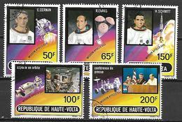 HAUTE VOLTA  -  Poste Aérienne  -  1973 . Y&T N° 130 à 134 Oblitérés.   Mission Apollo XVII - Alto Volta (1958-1984)