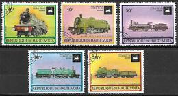HAUTE VOLTA  -  Aéros.  .1973 .Y&T N° 155 à 159 Oblitérés.   Trains  /  Locos. Série Complète - Alto Volta (1958-1984)