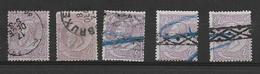 émission Léopold II - Solde Lot De 5 Timbres N° 52  2F Violet Sur Gris   Certains Avec Défauts Voir Les 2 Scans - 1884-1891 Léopold II