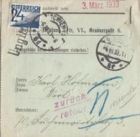 "Ö-Nachporto 1933 - 24 Gro Nachporto Auf Rückstandsausweis ""Zurück, Retour Stempel"" - Portomarken"