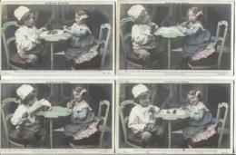 """CPA - FANTAISIE - Scène COUPLE D'ENFANTS ... """"La Dinette Les Eclairs""""- Lot De 4 Vues - Edition ND.Photo - Scènes & Paysages"""