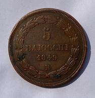 5 BAIOCCHI 1849 ROME- ÉTATS PONTIFICAUX Cuivre 42 G 41mm. - …-1861 : Ante Unificazione
