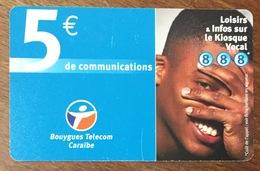 BOUYGUES TELECOM CARAÏBES 5 EURO LOISIRS ... DU 06/2004 CARTE PRÉPAYÉE PREPAID PHONECARD CARD TÉLÉCARTE - Antillen (Frans)