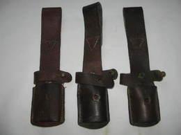 Lot 3x Porte Baïonnette En Cuir Pour Baïonnette Mauser - Armas Blancas