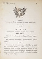 Decreto Regno Italia - Concernente Le Derivazioni Di Acque Pubbliche - 1884 - Old Paper