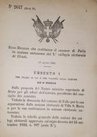 Decreto Regno Italia - Costituzione Comune Di Fallo In Sezione Di Chieti - 1884 - Old Paper