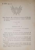 Decreto Regno Italia - Costituzione Comune Di Marudo In Sezione Di Milano - 1884 - Old Paper