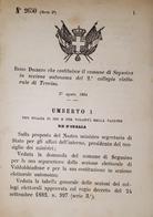 Decreto Regno Italia - Costituzione Comune Di Segusino In Sezione Treviso 1884 - Old Paper