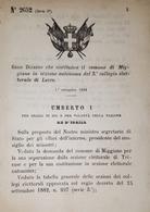 Decreto Regno Italia - Costituzione Comune Di Miggiano In Sezione Di Lecce 1884 - Old Paper