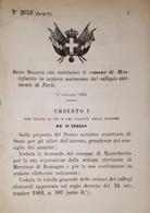 Decreto Regno Italia Costituzione Comune Montefiorito In Sezione Di Forli 1884 - Old Paper