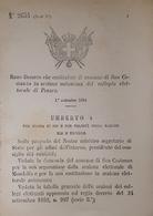 Decreto Regno Italia Costituzione Comune San Costanzo In Sezione Di Pesaro 1884 - Old Paper