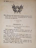 Decreto Regno Italia - Costituzione Santa Cristina Gela In Sezione Palermo 1884 - Old Paper