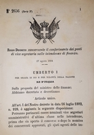 Decreto Regno Italia Conferimento Posti Vice Segretario Intendenze Finanza 1884 - Old Paper