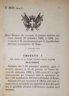 Decreto Regno Italia - R. Commissariato Per Liquidazione Asse Ecclesiastico 1884 - Old Paper