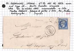 08 - ARDENNES - SEDAN -22 Oblitéré GC3352 Avec Cad Type 15 -boite Rurale GIVONNE - 1865 - Charles FIERON Fabrique Poeles - Postmark Collection (Covers)